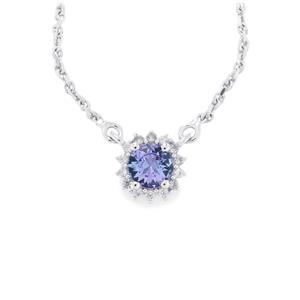 Tanzanite Necklace with White Zircon in Sterling Silver 0.67cts