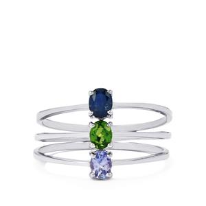 Chrome Diopside, Tanzanite Set of 3 Rings with Kanchanaburi Sapphire in Sterling Silver 0.55ct