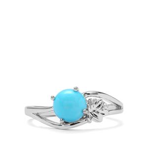 Sleeping Beauty Turquoise & White Zircon Sterling Silver Ring ATGW 1.40cts