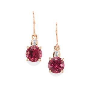 Mahenge Garnet Earrings with Diamond in 10k Rose Gold 3.47cts