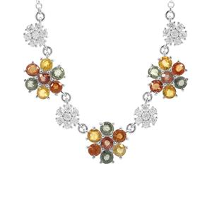 Songea Rainbow Sapphire Necklace with White Zircon in Sterling Silver 6.64cts