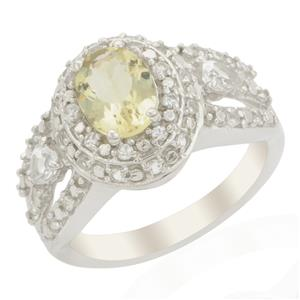 Citron Feldspar Ring with White Topaz in Sterling Silver 1.80cts