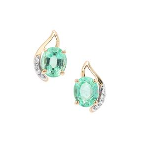 Siberian Emerald Earrings with White Zircon in 9K Gold 1.44cts