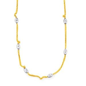 "18"" Station Necklace in Two Tone Gold Plated Sterling Silver 6.60g"