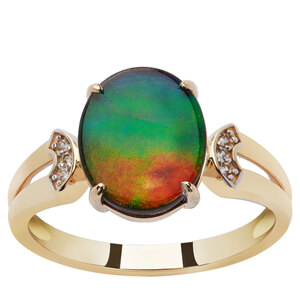 AA Ammolite Ring with White Zircon in 9K Gold (10.50 x 8.50mm)