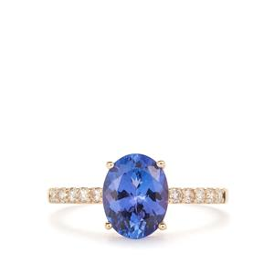 AAA Tanzanite Ring with Diamond in 9K Gold 2.15cts