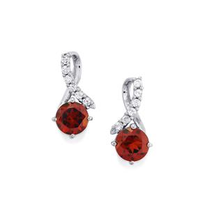 Red Umbalite Earrings with White Topaz in Platinum Plated Sterling Silver 2.15cts