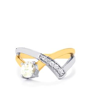 Ratanakiri Zircon Ring with White Zircon in Two Tone Gold Plated Sterling Silver 1.04ct