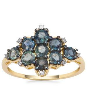 Nigerian Blue Sapphire Ring with Diamond in 9K Gold 1.77cts