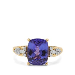 AAA Tanzanite Ring with Diamond in 18K Gold 3.92cts
