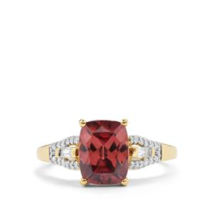 Zanzibar Zircon Ring with Diamond in 18K Gold 3cts