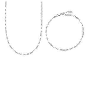 Sterling Silver Set of Classico Rolo Chain & Bracelet 3.66g