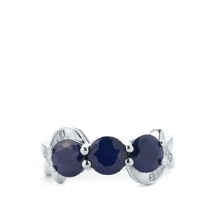 Madagascan Blue Sapphire & White Topaz Sterling Silver Ring ATGW 3.39cts