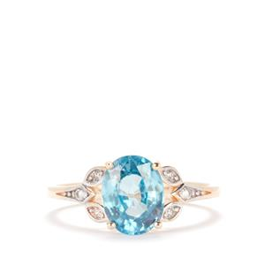 Ratanakiri Blue Zircon Ring with White Zircon in 10K Gold 3.03ct