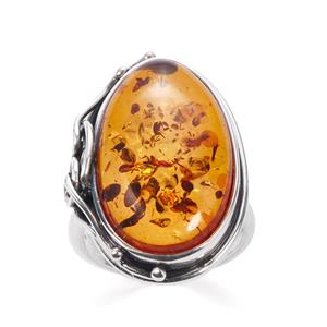 Baltic Cognac Amber Sterling Silver Ring (23x14mm)
