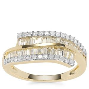 Yellow Diamond Ring with White Diamond in 9K Gold 1ct