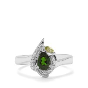 Chrome Diopside, Peridot & White Zircon Sterling Silver Ring ATGW 0.89ct