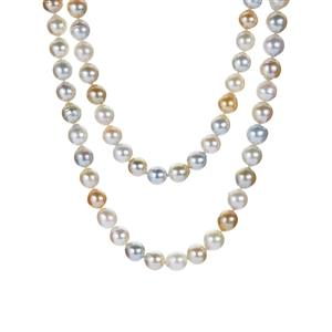 South Sea & Golden South Sea Cultured Pearl Sterling Silver Necklace (8 x 8mm)