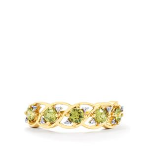 Ambanja Demantoid Garnet & White Zircon 9K Gold Ring ATGW 1.10cts