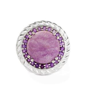 Piedrea Voga & Amethyst Sterling Silver Ring ATGW 8.23cts