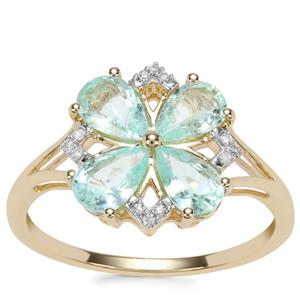 Paraiba Tourmaline Ring with Diamond in 10k Gold 1.44cts