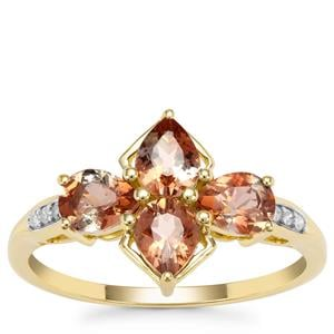 Sopa Andalusite Ring with Diamond in 9K Gold 1.30cts