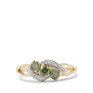 Green Ring with Diamond in 10K Gold 0.52ct