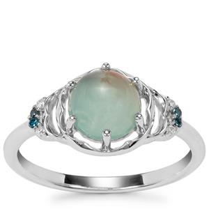 Aquaprase™, White Zircon Ring with Blue Diamond in Sterling Silver 1.56cts