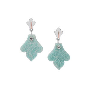 Amazonite Earrings in Two Tone Gold Plated Sterling Silver 18.62cts