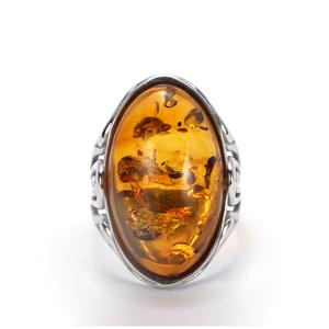Baltic Cognac Amber Sterling Silver Ring (25x15mm)