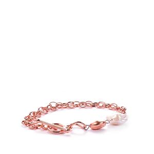 Baroque Cultured Pearl Bracelet in Rose Gold Tone Sterling Silver (14x12mm )