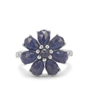 Rose Cut Bharat Blue Sapphire & White Zircon Sterling Silver Ring ATGW 7.44cts