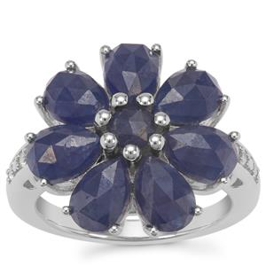 Rose Cut Bharat Blue Sapphire Ring with White Zircon in Sterling Silver 7.44cts