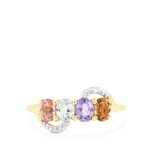 Natural Sakaraha Rainbow Sapphire Ring with Diamond in 10k Gold 1.36cts