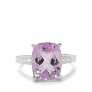Rose De France Amethyst & White Zircon Sterling Silver Ring ATGW 5.16cts