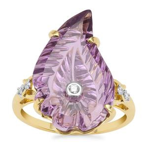 Lehrer Flame Cut Ametista Amethyst Ring with Diamond in 9K Gold 8.65cts
