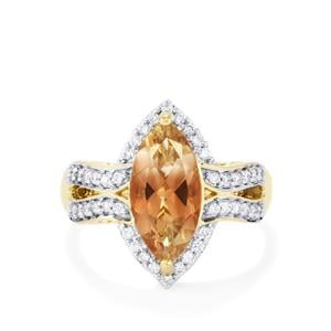 Oregon Sunstone Ring with Diamond in 18k Gold 2.54cts