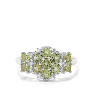 Red Dragon Peridot & White Zircon Sterling Silver Ring ATGW 1.52cts