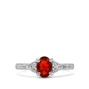 Mexican Fire Opal Ring with White Topaz in Sterling Silver 0.71ct