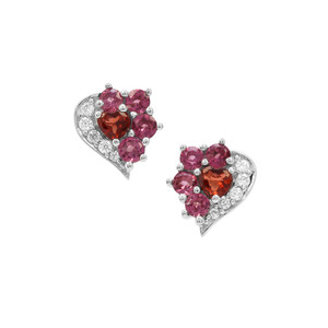 Nampula, Rajasthan Garnet Earrings with White Zircon in Sterling Silver 0.92ct