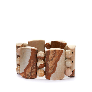 Picture Jasper Stretchable Bracelet 697cts