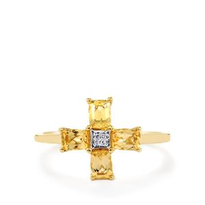 Ouro Preto Imperial Topaz Ring with Diamond in 10k Gold 1.04cts