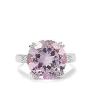 Rose De France Amethyst & White Zircon Sterling Silver Ring ATGW 8.06cts