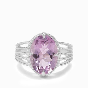 5.50ct Rose De France Amethyst Sterling Silver Ring