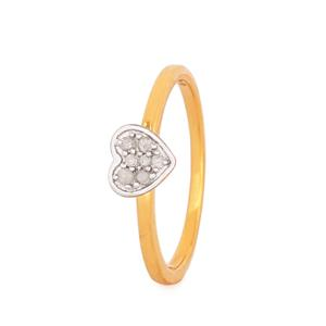 Diamond Ring in Gold Plated Sterling Silver 0.1ct