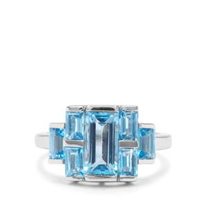 3.78ct Swiss Blue Topaz Sterling Silver Ring