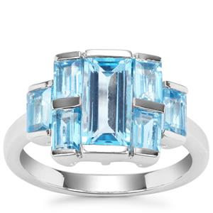 Swiss Blue Topaz Ring in Sterling Silver 3.78cts