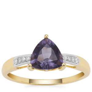 Montezuma Blue Quartz Ring with Diamond in 9K Gold 1.07cts