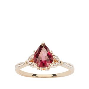 Comeria Garnet Ring with White Zircon in 9K Gold 1.71cts
