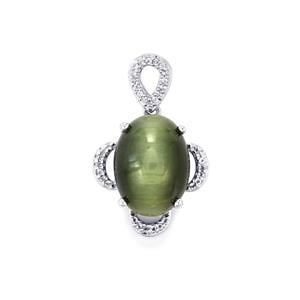 Cat's Eye Pendant with White Topaz in Sterling Silver 12.54cts